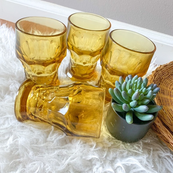 Vintage MCM Amber Drinking Glasses - Set of 4